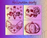 Grote reeks heldere stickers voor Halloween Royalty-vrije Stock Afbeeldingen