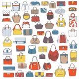 Grote reeks kleurrijke die zakken van de krabbelmanier, hand met zwarte geïsoleerde inkt, op witte achtergrond wordt getrokken Il Royalty-vrije Stock Afbeeldingen