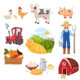 Grote reeks landbouwbedrijfelementen Stock Illustratie