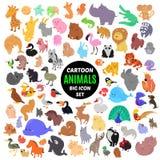 Grote reeks leuke beeldverhaal dierlijke pictogrammen op witte achtergrond Royalty-vrije Stock Afbeelding