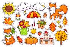 Grote reeks leuke de herfstinstallaties, vossen, wolken, bomen, kasteel, paraplu, pompoen royalty-vrije illustratie