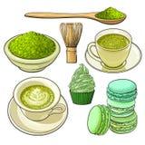 Grote reeks matcha groene thee, voedsel en toebehoren stock illustratie