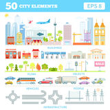 Grote reeks met stadselementen om uw eigen stad te maken Royalty-vrije Stock Afbeeldingen
