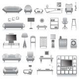 Grote reeks moderne furnitures Stock Foto's