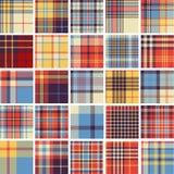 Grote reeks naadloze geruit Schots wollen stofpatronen Royalty-vrije Stock Foto's