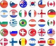 Grote reeks nationale vlagknopen Stock Foto's