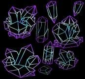 Grote reeks neonkristallen Stock Foto