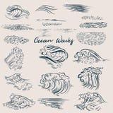 Grote reeks oceaan getrokken golven royalty-vrije illustratie