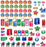 Grote reeks prijskaartjes en stickers Stock Afbeeldingen