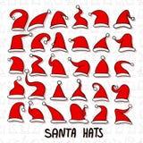 Grote reeks Rode Kerstmanhoeden Stock Afbeeldingen