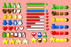 Grote reeks spel elementsand bars met 8 bits Stock Foto's