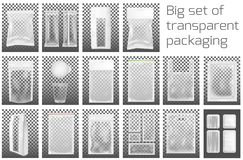 Grote reeks Transparante lege plastic verpakking met ritssluiting Leeg foliesachet voor voedsel of drank stock illustratie