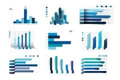 Grote reeks van charst, grafieken Blauwe kleur Infographics bedrijfselementen Royalty-vrije Stock Fotografie