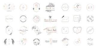 Grote reeks van de emblemeninzameling van het Huwelijksmonogram, hand getrokken moderne minimalistic en bloemenmalplaatjes voor U stock illustratie