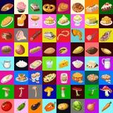 Grote reeks van divers voedsel, 64 voorwerpen vector illustratie