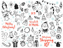 Grote reeks van het element van het Kerstmisontwerp in krabbelstijl Royalty-vrije Stock Afbeelding