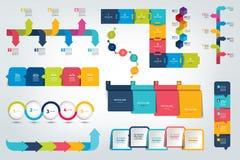 Grote reeks van Infographic-chronologierapport, malplaatje, grafiek, regeling vector illustratie