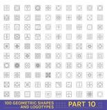 Grote Reeks van 100 minimale geometrische zwart-wit vormen Stock Afbeeldingen