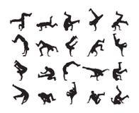 Grote reeks van Silhouet van expressieve onderbrekingsdans Jongeren het dansen van Hip Hop op witte achtergrond stock foto's