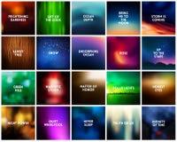 GROTE reeks van 20 vierkante vage aardachtergronden Met diverse citaten Stock Foto