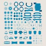 Grote reeks vectorlinten, banners, schilden, lege emblemen Stock Foto's