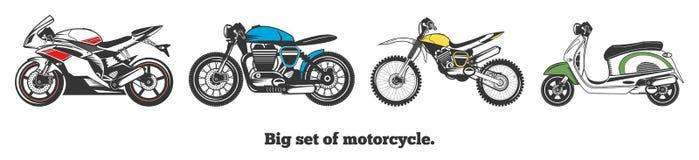 Grote reeks vectormotorfietsen Geïsoleerdee vectorillustratie Stock Fotografie