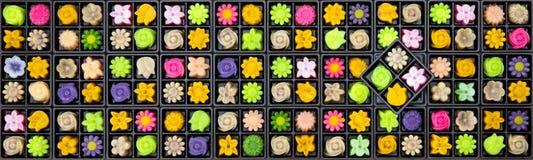 Grote reeks velen vorm en kleurrijke traditionele Thaise stijlswee royalty-vrije stock foto
