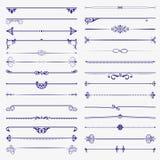 Grote reeks verdelers Vector kalligrafische ontwerpelementen en paginadecoratie Royalty-vrije Stock Fotografie