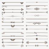Grote reeks verdelers Vector kalligrafische ontwerpelementen en paginadecoratie Royalty-vrije Stock Foto