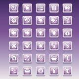 Grote reeks vierkante knopen met verschillend betoverend beeld voor het gebruikersinterface en Webontwerp royalty-vrije illustratie