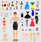 Grote reeks voor karakter van de verwezenlijkings het unieke dame vector illustratie