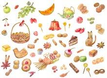 Grote reeks waterverfvruchten, bakkerijproducten, snoepjes, suikergoed, ca vector illustratie