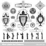 Grote reeks wijnetiketten en elementen Royalty-vrije Stock Afbeelding