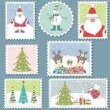 Grote Reeks zegels van Kerstmis. Vector illustratie Royalty-vrije Stock Afbeelding