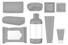 Grote reeks Zwarte lege plastic verpakking voor manier, schoonheidsmiddelen, hygiëne Leeg foliesachet stock illustratie