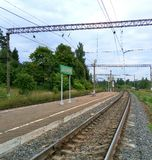 Grote ring van de spoorweg van Moskou, Dyudkovo-platform, post Stock Afbeelding