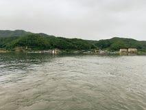 Grote rivier en groene bergachtergrond stock afbeelding