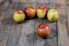 Grote rode appelen in een donkere houten doos Houten krat en appelen  Stock Foto