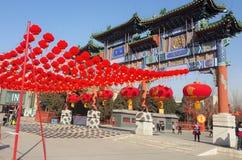 Grote Rode die lantaarn in de stad van Peking wordt verfraaid royalty-vrije stock fotografie