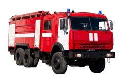 Grote rode die reddingsauto van Rusland, op wit wordt ge?soleerd stock fotografie