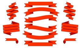Grote Rode Geplaatste Linten, Geïsoleerd op Witte Achtergrond Royalty-vrije Stock Afbeeldingen