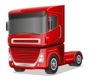 Grote rode vrachtwagen vectorillustratie Stock Afbeeldingen