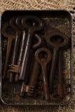 Grote roestige uitstekende metaalsleutels in tin Stock Afbeelding