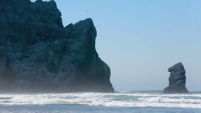 Grote rots bij Morro-Baai in Californië op zandig strand stock video