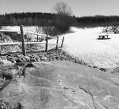 Grote rots, picknicklijst en appelboomgaard in de winterscène in centraal Maine royalty-vrije stock afbeeldingen