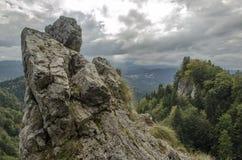 Grote rots in voorgrond met bewolkte hemel en beboste bergpiek op achtergrond Royalty-vrije Stock Afbeeldingen