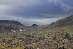 Grote rotsen op het gebied en de bovenkant van de berg op de horizon achter de klip in de bergen van Subpolair Royalty-vrije Stock Fotografie