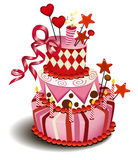 Grote roze cake Royalty-vrije Stock Afbeeldingen