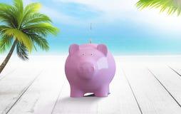 Grote roze varken-piggy status voor andere spaarvarkens Vector Illustratie