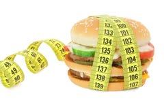 Grote sandwich met meetlint Stock Foto's